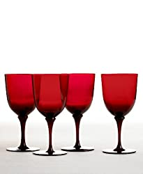 Martha Stewart Collection Wine Glasses, Set of 4 Red Goblets Burgundy