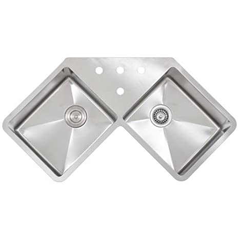 "Ticor 36"" TR-1400 Undermount Double Equal Bowl Stainless Steel 16 Gauge Corner Butterfly Square Hand Made Kitchen Sink with Tight Radius Corners"