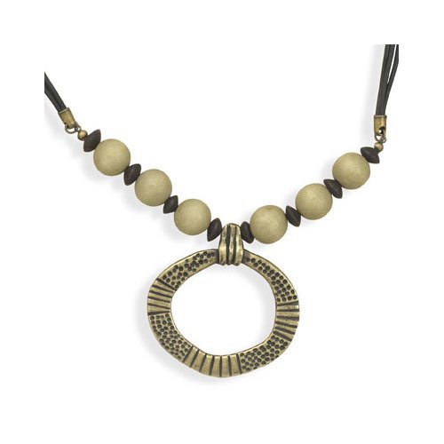 CleverSilver's Leather Fashion Necklace With Wood Beads