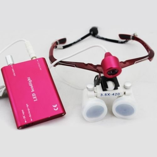 Aphrodite New 3.5X 420Mm Surgical Binocular Loupes +Head Light Lamp +Aluminum Box(Red)