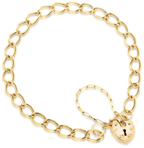 9ct Yellow Gold Heart Padlock Chain Bracelet 18cm/7