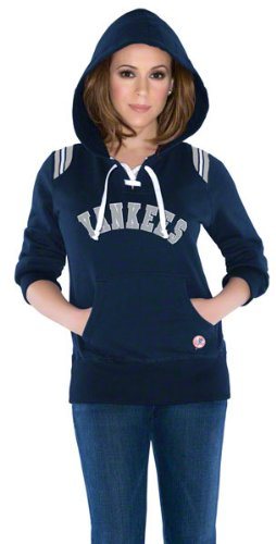 New York Yankees Women's Laced Up Fleece Hooded Sweatshirt - by Alyssa Milano at Amazon.com