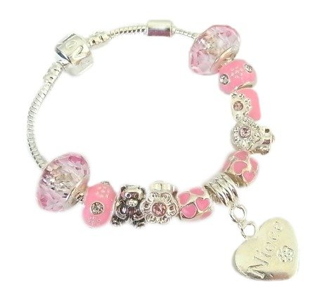 Treasured Charms & Beads Childrens 'Niece' Silver Plated Charm Bracelet 9 Silver Plated Pink & Silver Charms