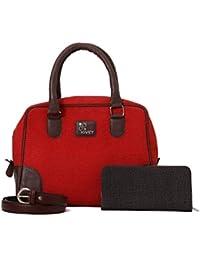 Rivet Red Hand Bag With Brown Belt & Ladies Wallet