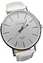Youyoupifa Best Birthday Gift Fashion PU Leather Strap Quartz Wrist Watch (White)