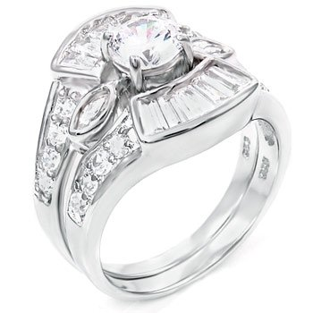 Sterling Silver Cubic Zirconia CZ Wedding Engagement Ring Set Sz 8