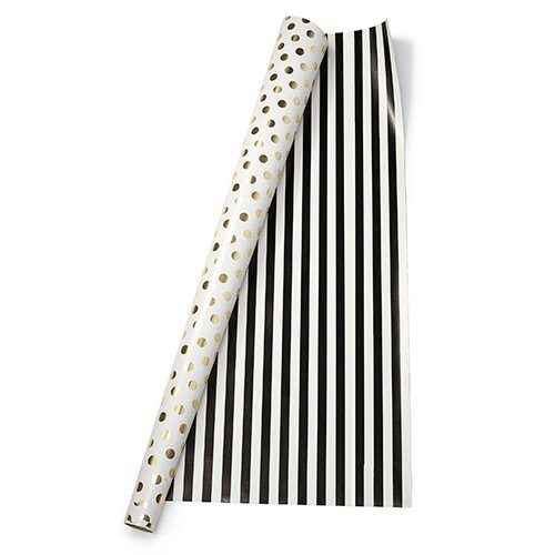 kate spade new york Gift Wrap, Gold Dots/Black Stripe
