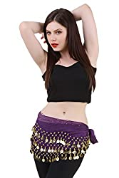 Hip Shakers Belly Dance Chiffon Hip Scarf Wrap Belt Tribal Coin Sash GOLD Coins