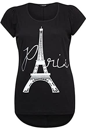Yoursclothing Plus Size Womens Paris Print Cotton T-shirt With Dipped Hem Size 18 Black