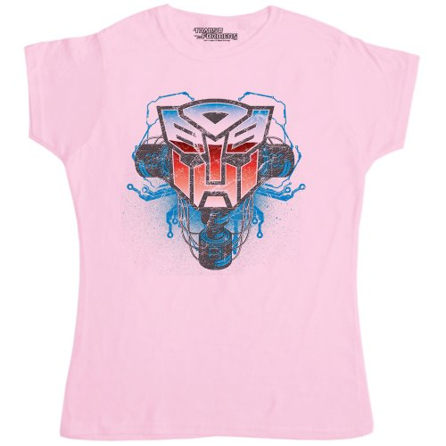 Womens Official Transformers T Shirt - Logo Autobot Shield Phones Pink