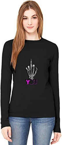 Skeleton Fuck You T-Shirt da Donna a Maniche Lunghe Long-Sleeve T-shirt For Women| 100% Premium Cotton| DTG Printing| Large