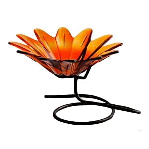 Colorful Daisy Shaped Glass Serving Chip & Dip Dish or Candy Nut Bowl ~ G151 Orange... by Knobs & More Home Decor