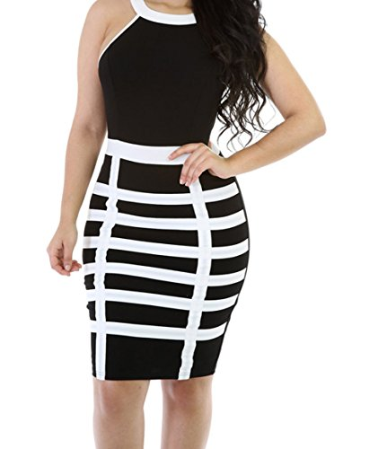PEGGYNCO Womens Black White Straight Caged Up Mini Dress Size S