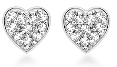 Carissima 9ct White Gold 0.05ct Diamond Pave Set Heart Stud Earrings