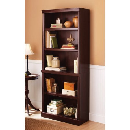 Better Homes and Gardens Ashwood Road 5-Shelf Bookcase, Multiple Finishes, Cherry Mission Style 5 Shelf Bookcase