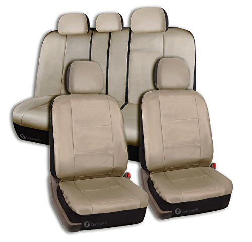 Zone Tech PU Leather Car Seat Covers - Classic Beige Tan Leather Front and Back Seat Cover with Straps and Hooks for Easier Installation (Zebra Car Seat Cover Pu Leather compare prices)