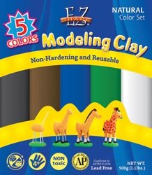 Polyform EZ Shape Modeling Clay Non Drying 1 Pound Natural Colros 5/Pkg NDC03; 3 Items/Order