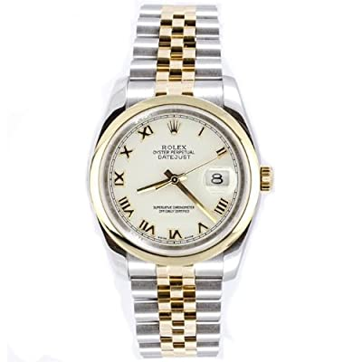 Rolex Mens Style Heavy Band Stainless Steel & 18K Gold Datejust Model 116203 Jubilee Band Smooth Bezel White Roman Dial from watchmaker Rolex