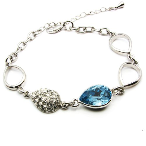 Tungsten Love 18K Platinum Plated Natural Blue Crystal Charm Chain Bracelet Fashion Jewelry
