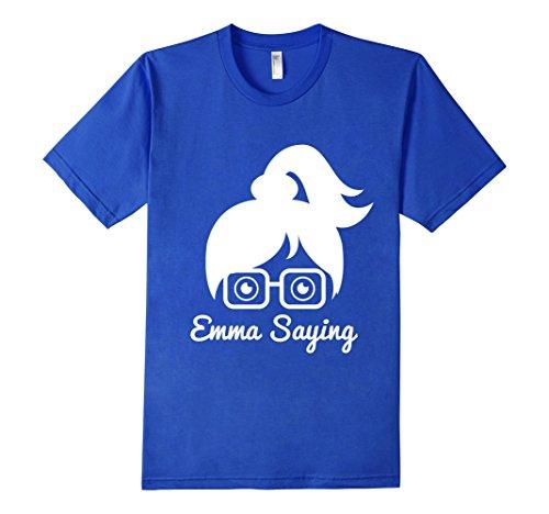 Mens-EmmaSaying-Fan-Club-Logo-T-Shirt-Nerdy-Girl-With-Glasses-Royal-Blue