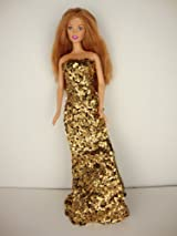 Daring Gold Sequined Fitted Gown with Slit on One Side Made to Fit the Barbie Doll
