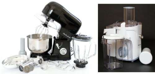 PACKAGE DEAL Kitchen Powerful 3 in 1 FOOD STAND MIXER INC Blender,Meat Grinder 5L in BLACK, Most POWERFUL 1200W + Charles Jacobs 2.0L ELECTRIC Whole FRUIT JUICER in White Compact 800W POWER, comes with BRUSH for cleaning by Charles Jacobs