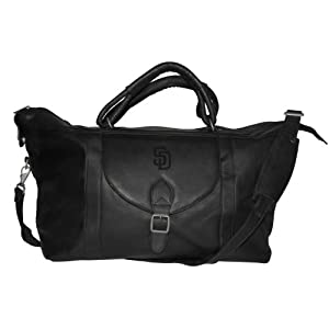 MLB San Diego Padres Tan Leather Top Zip Travel Bag by Pangea Brands