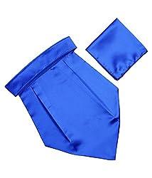 Classique Solid Dodger Blue Italian Design Premium Wedding Cravat With Matching Pocket Square