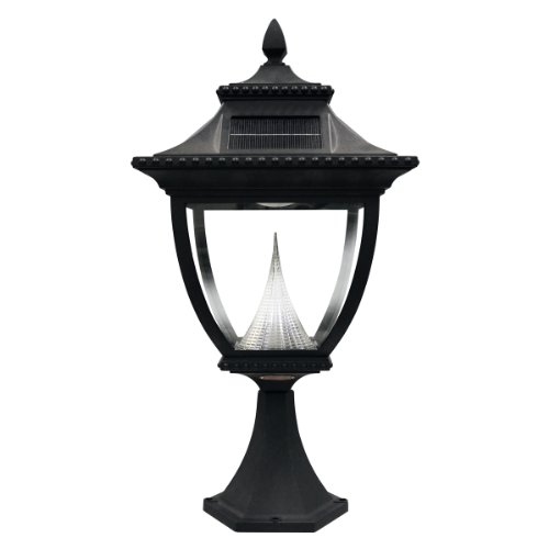 Gama Sonic Pagoda Solar Outdoor LED Light Fixture, Pier Base for Flat Mount, Black Finish #GS-104P