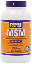 NOW Foods MSM 1500mg 200 Tablets (Pack of 3)