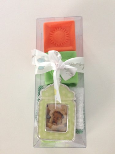 Stephan Baby Gift Set Containing Frame, Squirter Blocks, Socks, and Washcloth.