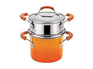 Rachael Ray - 3-Quart Covered Steamer Set - Orange