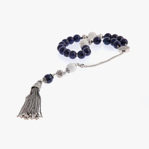 Lapis Lazuli & Shell Gemstones Handmade Worry Beads (Komboloi) Sterling Silver 925 - Free Shipping WorldWide