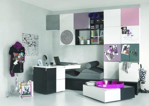 Jugendzimmer Kinderzimmer BLACK&WHITE Jugendmöbel komplett Set weiß-schwarz Kleiderschrank 2-türig Schreibtisch Transformers Bett 90×200 jetzt bestellen