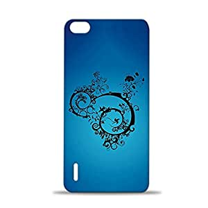 ezyPRNT Blue Tribal Art Printed back Cover for Huawei Honor 6