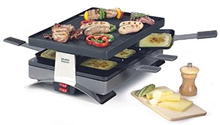 Pizza and Raclette Grill Party for 6 Persons From Stockli with Reversible Non-stick Grill Top
