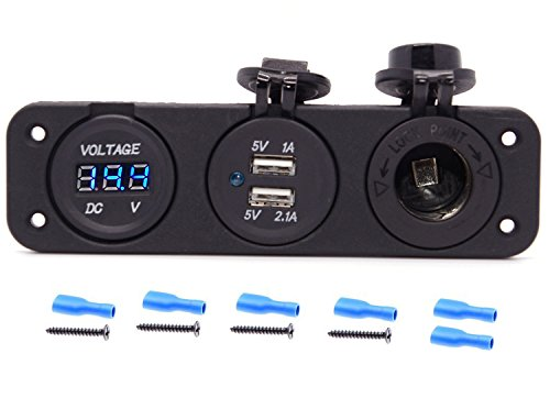 Cllena Triple Function Dual USB Charger + Blue LED Voltmeter + 12V Outlet Socket Panel Jack Marine For Digital Devices Mobile Phone Tablet (12 Volt Digital Meter compare prices)