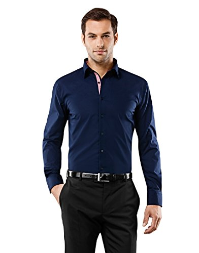 VB - Camicia da uomo Slim Fit, Ferro Uni con contrasti dark blue/wine-red 44 cm