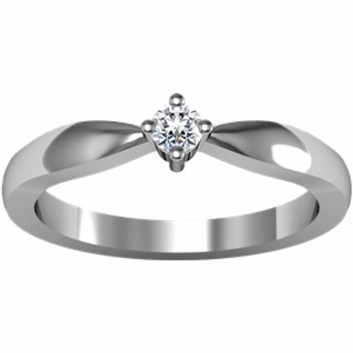 14K White Gold Solitaire Diamond Ring - 0.10 Ct. - Size 6.5