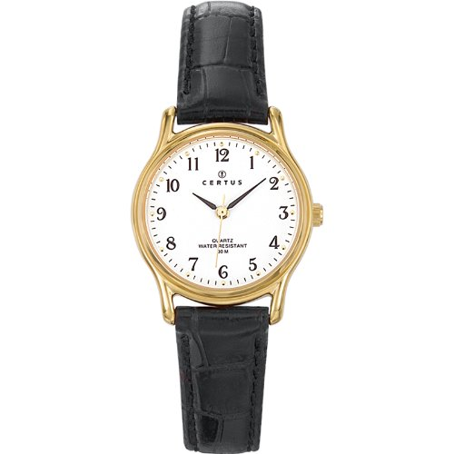 Certus 646232 - Ladies Watch - Analogue Quartz - White Dial - Black Leather Strap