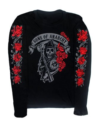 Reaper Roses - Sons Of Anarchy Juniors Long Sleeve T-shirt: Junior Small - Black