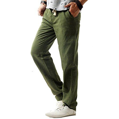 Minetom Pantaloni da Uomo, Pantaloni di Lino, Sportivi Casual, Gioventù e Popolare ( Verde IT 44 ( Vita 86-90 cm ) )
