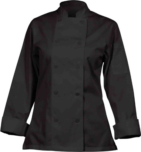Chef Works CWLJ-BLK Women's Executive Chef Coat, Black, Size S