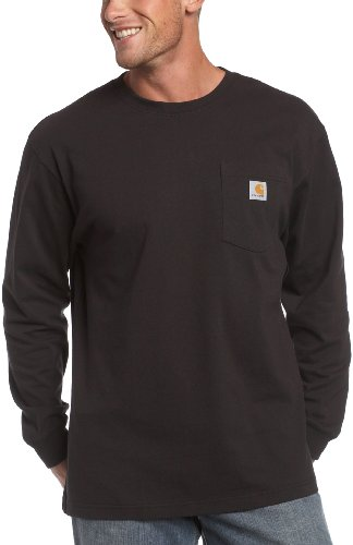 Carhartt Men's Long Sleeve Workwear Pocket T-Shirt,  Black,  XX-Large Tall