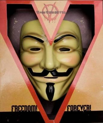 V for Vendetta Mask Guy Fawkes Anonymous fancy Cosplay costume -Yellow