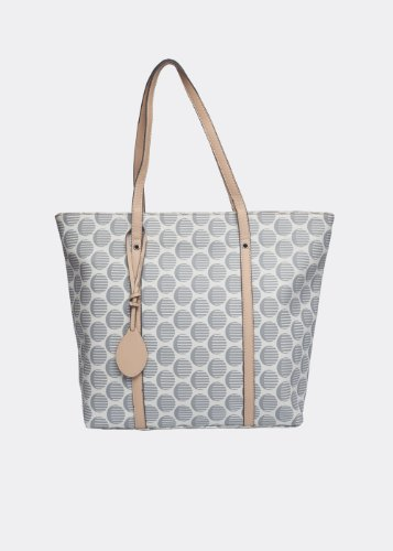 Canvas Anonymous Co. Grey Striped Polka Canvas Tote (White)