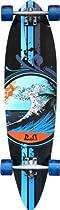 "Punked Wave Pintail Complete Longboard Skateboard - 9.75"" x 38"""
