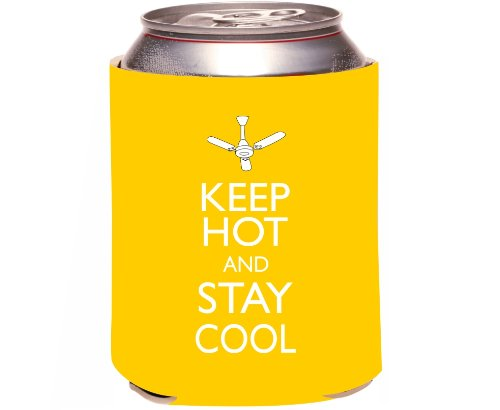 "Rikki Knight ""Keep Hot And Stay Cool Yellow Color Design"" Beer Can Soda Drinks Cooler Koozie front-599925"