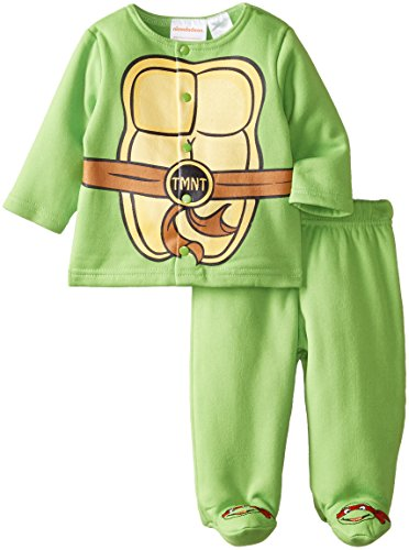 Nickelodeon Baby Baby-Boys Newborn Ninja Turtle 2 Piece Jacket With Footed Pant Set, Green, 3-6 Months front-1044077