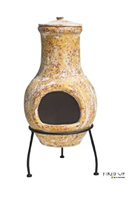 La Hacienda Small Yellow Clay Chiminea Chimenea Patio Heater from La Hacienda